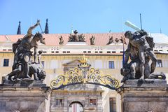 Fragment of the Prague castle Located in the Hradcany district is the official residence and office of the President of the Czech. Republic stock photo