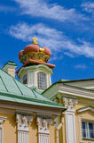 A fragment of Prince Menshikov Palace in Oranienbaum with a princely crown on the roof Stock Images