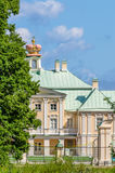 A fragment of Prince Menshikov Palace in Oranienbaum with a princely crown on the roof. Royalty Free Stock Photos