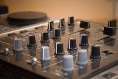 Fragment of professional DJ equipment. Used in nightclub royalty free stock image