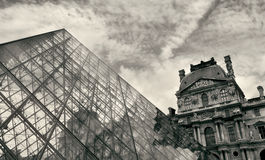 Fragment of Pyramid in Louvre museum. Royalty Free Stock Photos