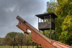 Fragment of rails in Kamp Westerbork Stock Photography