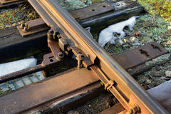 Fragment of Railway track with switch Stock Image