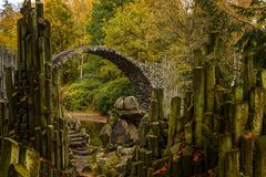 Fragment of the Rakotzbruecke Devil`s Bridge. Rhododendron Park Kromlau. Germany Royalty Free Stock Image