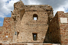 The fragment of the reconstructed stony tower in the medieval Genoese fortress. Stock Images