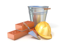 Fragment of red brick wall, trowel, metal bucket and safety helmet Royalty Free Stock Photo