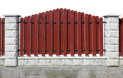 Fragment of a red rural fence isolated Stock Images