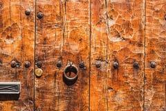 Fragment of relief  wooden door Royalty Free Stock Photo