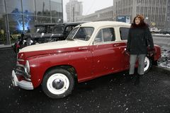 Fragment of retro old car Volga GAZ - M-20 `Victory` - the car is a symbol of victory of Russia in WW2 - USSR. Presentation of the opening of car centre  GAZ Stock Photography