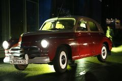 Fragment of retro old car Volga GAZ - M-20 `Victory` - the car is a symbol of victory of Russia in WW2 - USSR. Presentation of the opening of car centre  GAZ Stock Images