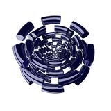 Fragment rings 1. 3d fragmented spiral rings, size increasing from the center,reflective, white background vector illustration
