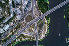 Fragment of the road junction in Kiev near the residential area of Rusanovka. Aerial view. From above Royalty Free Stock Photo