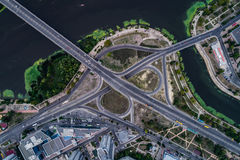 Fragment of the road junction in Kiev near the residential area of Rusanovka. Aerial view. From above Royalty Free Stock Image