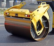Fragment of road roller Stock Photo