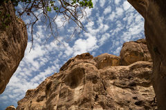 Fragment of rock in the 1.2km long path (As-Siq) in the city of Petra, Jordan Royalty Free Stock Photos
