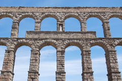 Fragment of the Roman aqueduct in Segovia Stock Photo