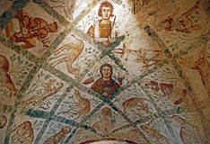 Fragment Roman Mural Ceiling Ruins at Ancient Umayyad Desert Castle of Qasr Amra in Zarqa, Jordan. Roman Mural Ceiling Ruins at Ancient Umayyad Desert Castle of Stock Photos