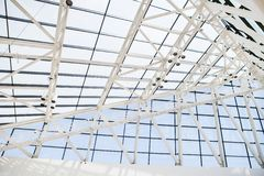 Fragment of roof from glass windows and a steel in royalty free stock image