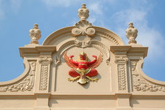 Fragment of roof at the King Palace in Bangkok. Royal Pavilion Mahajetsadabadin in Thailand Stock Photos