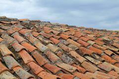 Fragment of a roof from an old tile Royalty Free Stock Images