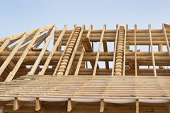 Fragment of the roof timbered houses Royalty Free Stock Images