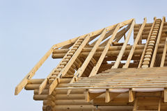 Fragment of the roof timbered houses Royalty Free Stock Photos
