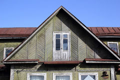Fragment of a roof of the wooden house Stock Photo