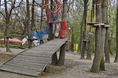 Fragment of rope sports facilities at adventure park Royalty Free Stock Image