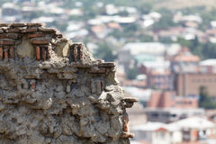 A fragment of a ruined fortress wall Royalty Free Stock Images