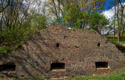 Fragment of ruins of the Prussian fortification in the park Citadel Royalty Free Stock Photography
