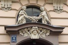 Fragment Rupniecibas för Art Nouveau byggnadsfasad 1 gata Arkivfoto