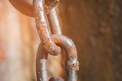 Fragment of a rusty anchor chain Stock Photography