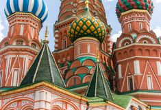 Fragment of the Saint Basil Cathedral Stock Images