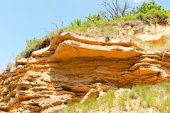 fragment of a sand rock formation Stock Images