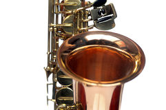 Fragment of  Saxophone on white background. Royalty Free Stock Photos