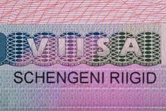 Fragment of the Schengen visa of Estonia Royalty Free Stock Image