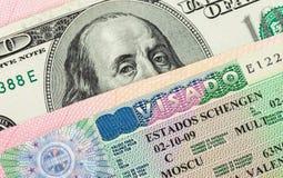 Fragment of Schengen visa Royalty Free Stock Images