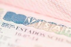 Fragment of Schengen visa in the passport Royalty Free Stock Images