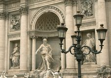 Fragment of the sculptural decoration of Trevi Fountain. In Rome stock photo