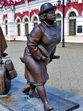 Fragment of sculpture `Passengers` near the railway station in the of Yekaterinburg. Closeup. Summer Royalty Free Stock Photo