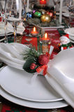 Fragment serving Christmas table Stock Photography