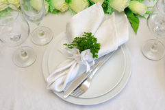 Fragment serving festive table Stock Photo