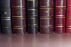 Book spines of old leather-bound tomes on the shelf. Fragment of several black, cerise and red book spines of the old tomes of the collected works in leather Stock Images