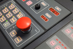 Fragment of ship control panel, horn button Royalty Free Stock Images