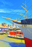 Fragment of Ship in harbor of South Street Seaport Royalty Free Stock Photography