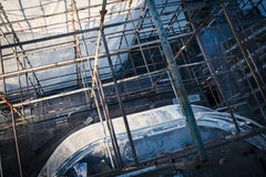 Fragment of a  ship in a shipyard. View from scaffolding on a fragment of a ship in a shipyard Stock Photography