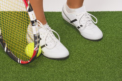 Fragment Shot of Legs of Caucasian Female Tennis Sportswoman Hol Stock Photography
