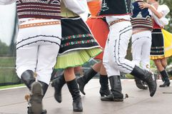Fragment of Slovak folk dance with colorful clothes Stock Photography