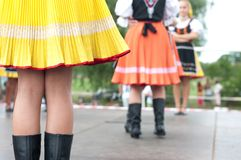 Fragment of Slovak folk dance with colorful clothes Royalty Free Stock Images