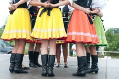 Fragment of Slovak folk dance with colorful clothes. In Folk Festival royalty free stock image